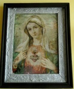 obraz ,ktory wisiał w domu w Gaju Zuzowskim odnowiony przez wnuczke Mikołaja i Marianny Majkowskich