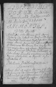 Pierwsza stronica z księgi z kościoła parafialnego w Przedborzu