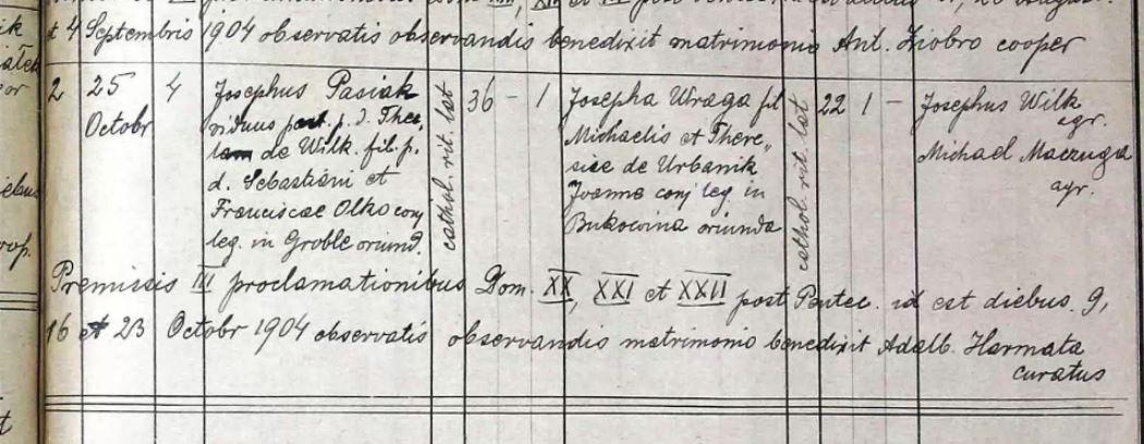 Pasiak z grobli slub w bielinach 1904